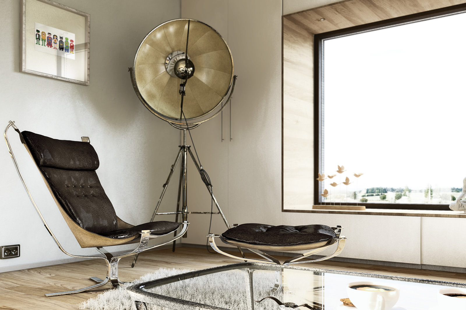 Sigurd Ressel Falcon Chair  with Fortuny Studio floor lamp